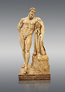 End of 2nd century beginning of 3rd century AD Roman marble sculpture of Hercules at rest copied from the second half of the 4th century BC Hellanistic Greek original,  inv 6001, Farnese Collection, Museum of Archaeology, Italy .<br /> <br /> If you prefer to buy from our ALAMY STOCK LIBRARY page at https://www.alamy.com/portfolio/paul-williams-funkystock/greco-roman-sculptures.html . Type -    Naples    - into LOWER SEARCH WITHIN GALLERY box - Refine search by adding a subject, place, background colour, etc.<br /> <br /> Visit our ROMAN WORLD PHOTO COLLECTIONS for more photos to download or buy as wall art prints https://funkystock.photoshelter.com/gallery-collection/The-Romans-Art-Artefacts-Antiquities-Historic-Sites-Pictures-Images/C0000r2uLJJo9_s0