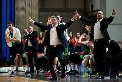 Aleksandar Saso Nikitovic, coach of Petrol Olimpija and his assistant Goran Tadic during basketball match between KK Petrol Olimpija and Buducnost VOLI in Round #17 of ABA League 2018/19, on January 28, 2019 in Arena Tivoli, Ljubljana, Slovenia. Photo by Vid Ponikvar / Sportida