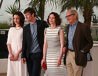 Aisling Franciosi, Barry Ward, Simone Kirby, and, Ken Loach, director, actress, Irish, at the photo call for the film Jimmy's Hall at the 67th Cannes Film Festival, Thursday 22nd May 2014, Cannes, France.