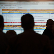 Attendees watch results come in during an election night victory celebration for the Republican Party at the Four Points Sheraton in Charleston, W.V., on Tuesday, November 06, 2018.