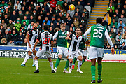 Lee Hodson of St Mirren wins a header during the Ladbrokes Scottish Premiership match between St Mirren and Hibernian at the Simple Digital Arena, Paisley, Scotland on 29th September 2018.