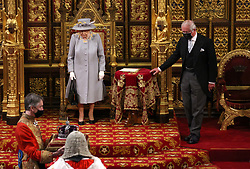 Queen Elizabeth II before she delivers a speech from the throne in House of Lords at the Palace of Westminster in London as she outlines the government's legislative programme for the coming session during the State Opening of Parliament. Picture date: Tuesday May 11, 2021.