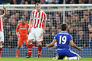 Charlie Adam of Stoke City gestures towards Diego Costa of Chelsea. Premier league match, Chelsea v Stoke city at Stamford Bridge in London on Saturday 31st December 2016.<br /> pic by John Patrick Fletcher, Andrew Orchard sports photography.