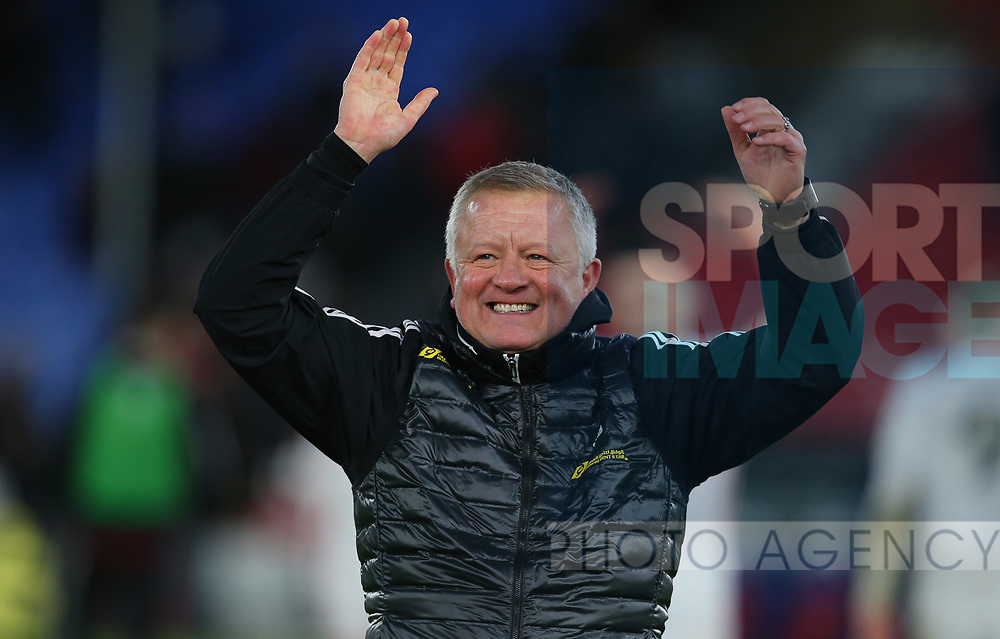 Sheffield United's manager Chris Wilder celebrates after the Premier League match at Selhurst Park, London. Picture date: 1st February 2020. Picture credit should read: Paul Terry/Sportimage