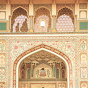 Detail from the Amber Palace near Jaipur, Rajahstan, India