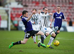Ayr United's Peter Murphy and Dunfermline's Michael Moffat. <br /> Dunfermline 3 v 2 Ayr United, Scottish League One played at East End Park, 13/2/2016.