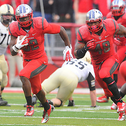 10 November 2012: Rutgers Scarlet Knights defensive back Duron Harmon (32) runs a fumble back for a touchdown during NCAA college football action between the Rutgers Scarlet Knights and Army Black Knights at High Point Solutions Stadium in Piscataway, N.J.. Rutgers defeated Army 28-7.