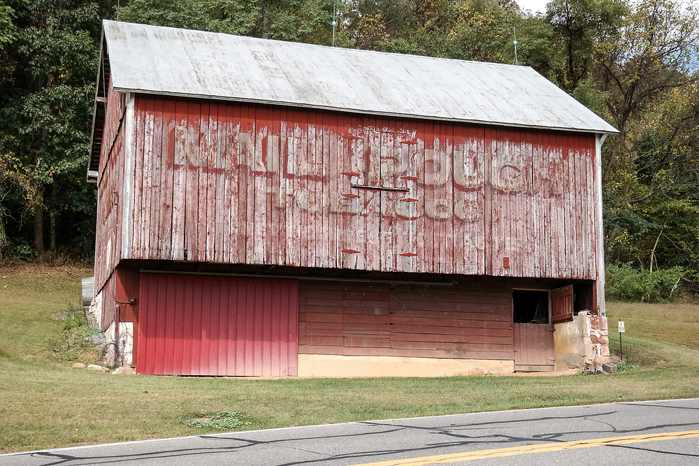Millersburg, PA, USA- October 5, 2014: A red Mail Pouch barn located in central Pennsylvania.