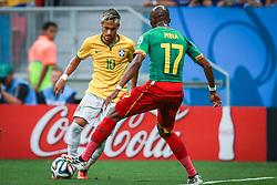 Neymar Júnior na partida entre Brasil x Camarões, válida pela fase de grupos da Copa do Mundo 2014, no Estádio Maé Garrincha, em Brasíia. FOTO: Jefferson Bernardes/ Agência Preview