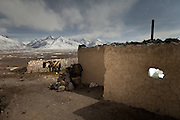 Night shot of the house of Abdul Hameed. At the Andemin camp...Trekking through the high altitude plateau of the Little Pamir mountains, where the Afghan Kyrgyz community live all year, on the borders of China, Tajikistan and Pakistan.