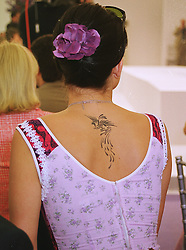 Model SOPHIE ANDERTON and her tatoo at a polo<br />  match in Berkshire on 13th June 1999.MTD 98