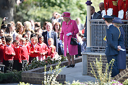 © Licensed to London News Pictures. 20/04/2016. HRH QUEEN ELIZABETH II  departs after officially open the new bandstand at Alexandra Gardens in Windosr on the eve of her 90th birthday. Photo credit: Hannah McKay/LNP