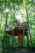 The tree house Mestni Gozd, Mestni Hisa or Miklavski Hrib in the Mestni Park forest above Celje, on 23rd June 2018, in Celje, Slovenia. The house was built using local money and EU funding and is used by local schools teaching nature and the environment and care of the woodland.