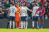 Football - 2021/2022  Premier League - Crystal Palace vs Tottenham Hotspur - Selhurst Park  - Saturday 11th September 2021.<br /> <br /> Tottenham Players surround referee John Moss after he gives Crystal Palace a penalty at Selhurst Park.<br /> <br /> COLORSPORT/DANIEL BEARHAM