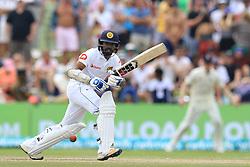 November 9, 2018 - Galle, Sri Lanka - Sri Lankan cricketer Niroshan Dickwella plays a shot during the 4th day's play of the first test cricket match between Sri Lanka and England at Galle International cricket stadium, Galle, Sri Lanka on 9 November 2018. (Credit Image: © Tharaka Basnayaka/NurPhoto via ZUMA Press)