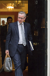 Downing Street, London, May 10th 2016. Justice Secretary Michael Gove leaves the weekly cabinet meeting in Downing Street.