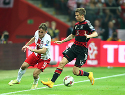 11.10.2014, National Stadium, Warsaw, POL, UEFA Euro Qualifikation, Polen vs Deutschland, Gruppe D, im Bild MACIEJ RYBUS POLSKA ERIK DURM ( GERMANY ) // MACIEJ RYBUS POLSKA ERIK DURM ( GERMANY ) // during the UEFA EURO 2016 Qualifier group D match between Poland and Germany at the National Stadium in Warsaw, Poland on 2014/10/11. EXPA Pictures © 2014, PhotoCredit: EXPA/ Newspix/ Michal Nowak<br /> <br /> *****ATTENTION - for AUT, SLO, CRO, SRB, BIH, MAZ, TUR, SUI, SWE only*****