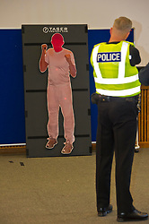 EMBARGOED TILL 16:00 14 DECEMBER 2017<br /> <br /> Pictured: Sergeant Dale Martin demonstrated ther taser X2<br /> <br /> Deputy Chief Constable Johnny Gwynne was at Tullialan Police College today tol make an announcement on police officer safety with 500 sadditional officers being trained and deployed with tasers to combat the number of incidents where officers are injured.<br /> <br /> Ger Harley   EEm 14 December 2017