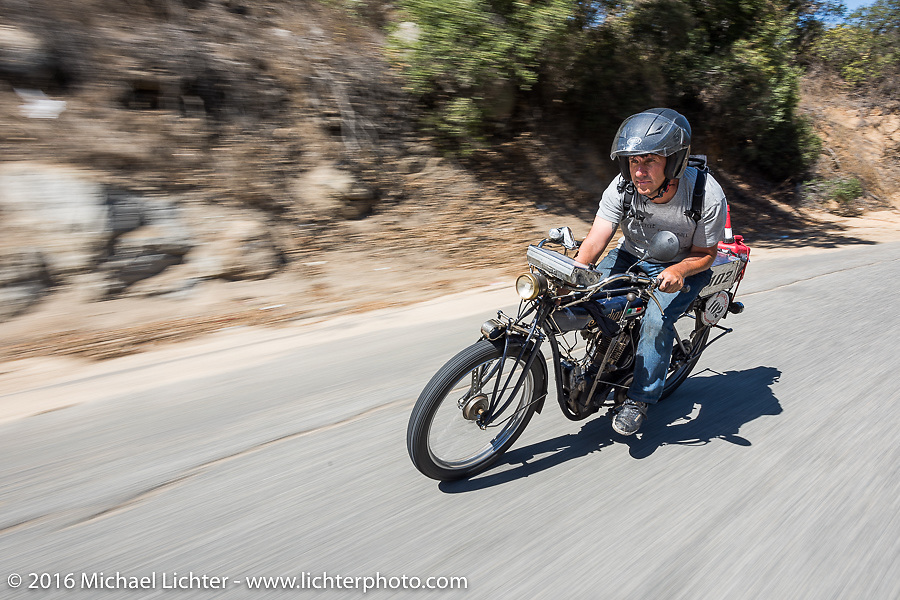 Ciro Nisi of Italy riding his class-1, single-cylinder, single speed 1912 Indian on the last day of the Motorcycle Cannonball Race of the Century. Stage-15 ride from Palm Desert, CA to Carlsbad, CA. USA. Sunday September 25, 2016. Photography ©2016 Michael Lichter.