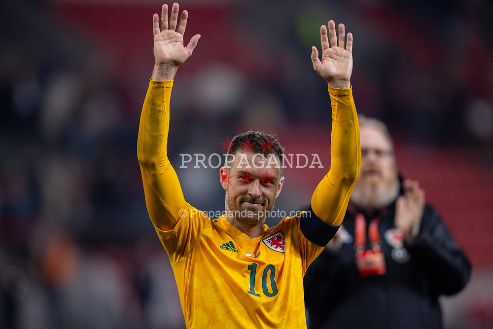 PRAGUE, CZECH REPUBLIC - Friday, October 8, 2021: Wales' captain Aaron Ramsey waves to the supporters after the FIFA World Cup Qatar 2022 Qualifying Group E match between Czech Republic and Wales at the Sinobo Stadium. The game ended in a 2-2 draw. (Pic by David Rawcliffe/Propaganda)