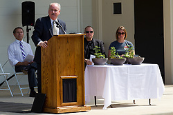 10 May 2014:  Dan Brady at podium for 25th anniversary celebration of the Constitution Trail ceremony at Connie Link Amphitheater in Normal Illinois