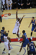 The Washington Wizards defeated the Cleveland Cavaliers 88-87 in Game 5 of the First Round of the NBA Playoffs, April 30, 2008 at Quicken Loans Arena in Cleveland..LeBron James of Cleveland loses the ball after being fouled against Washington.