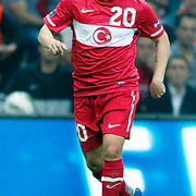 Turkey's Gokhan TORE during their UEFA EURO 2012 Qualifying round Group A matchday 19 soccer match Turkey betwen Germany at TT Arena in Istanbul October 7, 2011. Photo by TURKPIX