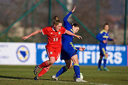 ZENICA, BOSNIA AND HERZEGOVINA - Tuesday, November 28, 2017: Wales' Rachel Rowe and Bosnia and Herzegovina's Marija Aleksić during the FIFA Women's World Cup 2019 Qualifying Round Group 1 match between Bosnia and Herzegovina and Wales at the FF BH Football Training Centre. (Pic by David Rawcliffe/Propaganda)