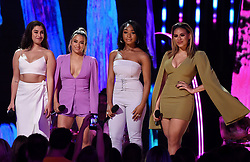 LOS ANGELES - AUGUST 13: L-R: Lauren Jauregui, Ally Brooke,  Normani Kordei and Dinah Jane of Fifth Harmony onstage at FOX's 'Teen Choice 2017' at the Galen Center on August 13, 2017 in Los Angeles, California. (Photo by Frank Micelotta/FOX/PictureGroup) *** Please Use Credit from Credit Field ***