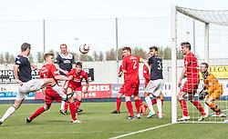 Raith Rovers Paul Watson stops Falkirk's David McCracken getting a shot.<br /> Falkirk 2 v 1 Raith Rovers, Scottish Championship game played today at The Falkirk Stadium.<br /> © Michael Schofield.