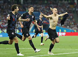 SOCHI, July 7, 2018  Domagoj Vida (R front) of Croatia celebrates scoring during the 2018 FIFA World Cup quarter-final match between Russia and Croatia in Sochi, Russia, July 7, 2018. (Credit Image: © Cao Can/Xinhua via ZUMA Wire)