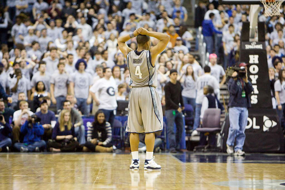 WASHINGTON DC: Georgetown guard Chris Wright stands on the court after a loss to Cincinnatti on February 7, 2009 at the Verizon Center in Washington DC.