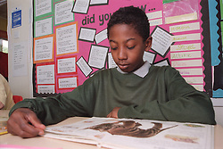 Primary school boy sitting at desk in classroom reading educational book,