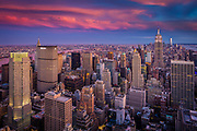 Manhattan at sunset from Rockefeller Center in New York City midtown