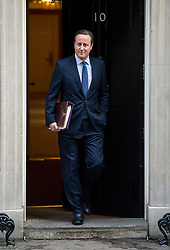 © Licensed to London News Pictures. 18/02/2016. London, UK. British prime minister DAVID CAMERON leaving 10 Downing Street in London to travel to Brussels for an EU summit where negotiations will continue over Britain's EU membership. Photo credit: Ben Cawthra/LNP