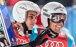 06.01.2016, Paul Ausserleitner Schanze, Bischofshofen, AUT, FIS Weltcup Ski Sprung, Vierschanzentournee, Bischofshofen, Finale, im Bild v.l.: Ronan Lamy Chappuis (FRA), Vincent Descombes Sevoie (FRA) // Ronan Lamy Chappuis of France and Vincent Descombes Sevoie of France react after their 1st round jump of the Four Hills Tournament of FIS Ski Jumping World Cup at the Paul Ausserleitner Schanze in Bischofshofen, Austria on 2016/01/06. EXPA Pictures © 2016, PhotoCredit: EXPA/ JFK
