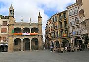 Plaza Mayor, town hall and restaurant, Plasencia, Caceres province, Extremadura, Spain