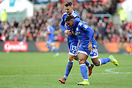 Cardiff City's Anthony Pilkington (l) celebrates with goal scorer Kadeem Harris who scores his teams 2nd goal to equalise at 2-2. EFL Skybet championship match, Bristol City v Cardiff City at the Ashton Gate Stadium  in Bristol, Avon on Saturday 14th January 2017.<br /> pic by Carl Robertson, Andrew Orchard sports photography.