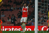 Chris Willock of Arsenal celebrates after scoring his teams 1st goal to make it 1-1.  Barclays Premier league play off final match, Arsenal U21's v Aston Villa U21's at the Emirates Stadium in London on Tuesday 10th May 2016.<br /> pic by Steffan Bowen, Andrew Orchard sports photography.