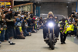 Invited builder Chris Graves with his wife Kristin rides his Fast Eddy Co 1975 Harley-Davidson Hush Your Mouth Shovelhead in the Grand Entry into the 27th Annual Mooneyes Yokohama Hot Rod Custom Show 2018. Yokohama, Japan. Sunday, December 2, 2018. Photography ©2018 Michael Lichter.