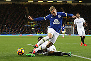 Gerard Deulofeu of Everton is tackled by Leroy Fer of Swansea City. Premier league match, Everton v Swansea city at Goodison Park in Liverpool, Merseyside on Saturday 19th November 2016.<br /> pic by Chris Stading, Andrew Orchard sports photography.