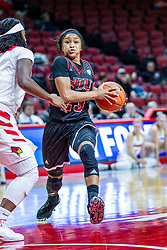 NORMAL, IL - November 20: Myia Starks rushes the paint defended by Tete Maggett during a college women's basketball game between the ISU Redbirds and the Huskies of Northern Illinois November 20 2019 at Redbird Arena in Normal, IL. (Photo by Alan Look)