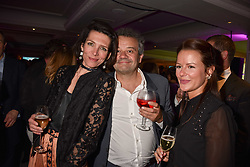 Left to right, Thomasina Miers, Mark Hix and guest at the 2017 Fortnum & Mason Food & Drink Awards held at Fortnum & Mason, Piccadilly London England. 11 May 2017.<br /> Photo by Dominic O'Neill/SilverHub 0203 174 1069 sales@silverhubmedia.com