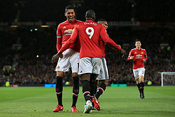 18th November 2017 - Premier League - Manchester United v Newcastle United - Chris Smalling of Man Utd (L) celebrates with teammate Romelu Lukaku after scoring their 2nd goal - Photo: Simon Stacpoole / Offside.
