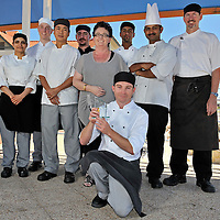 L-R - Prabjot Kaur, David Harrison, Diep Van Nyuyen, David Walker, Patricia Bassi (Owner Manager), Gurpreeet Bajiua, Rana Aich (Head Chef), David Mills - Front - Heath Speering-Winner Musselfest 2012