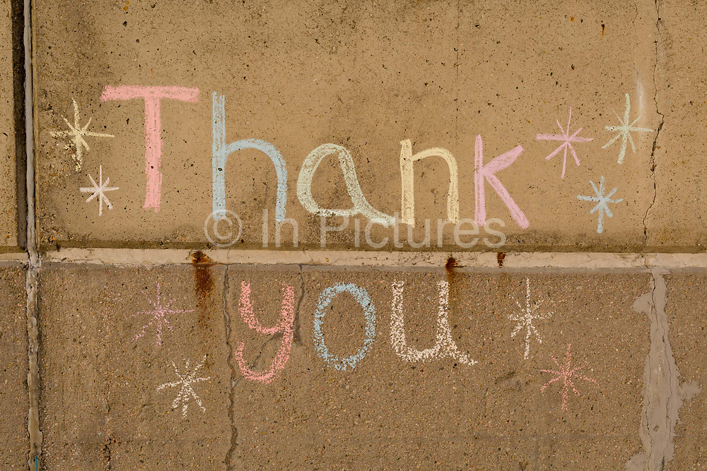 The words Thank You written in chalk on Ramsgates sea wall near the former ferry terminal in the Port of Ramsgate, on 8th January 2019, in Ramsgate, Kent, England. The Port of Ramsgate has been identified as a Brexit Port by the government of Prime Minister Theresa May, currently negotiating the UKs exit from the EU. Britains Department of Transport has awarded to an unproven shipping company, Seaborne Freight, to provide run roll-on roll-off ferry services to the road haulage industry between Ostend and the Kent port - in the event of more likely No Deal Brexit. In the EU referendum of 2016, people in Kent voted strongly in favour of leaving the European Union with 59% voting to leave and 41% to remain.