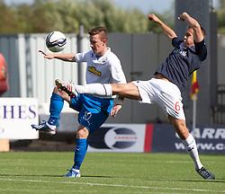 Morton's Archie Campbell and Falkirk's Will Vaulks.<br /> Falkirk 3 v 1 Morton, Scottish Championship 17/8/2013.<br /> ©Michael Schofield.