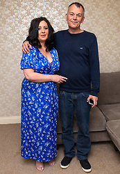 Natasha Bambrough, 48, with husband Dean Milner, 49 from Ruislip in west London. Natasha went to Turkey to have a tummy-tuck operation and subsequently gained an infection leading to necrosis that required three operations over a two week period, including a skin graft. London, May 14 2019.