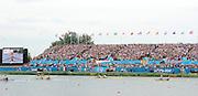 Eton Dorney, Windsor, Great Britain,..2012 London Olympic Regatta, Dorney Lake. Eton Rowing Centre, Berkshire[ Rowing]...Description;   Women's Pair Final approaching the line.  GBR W2- Helen GLOVER (b) , Heather STANNING (s).AUS W2- Kate HORNSEY (b) , Sarah TAIT (s).NZL W2- .Juliette HAIGH (b) , Rebecca SCOWN (s).USA.W2- Sara HENDERSHOT (b) , Sarah ZELENKA (s).ROM W2- Georgeta ANDRUNACHE (b) , Viorica SUSANU (s)   GER.W2- Kerstin HARTMANN (b) , Marlene SINNIG (s)  Dorney Lake. 11:57:30  Wednesday  01/08/2012.  [Mandatory Credit: Peter Spurrier/Intersport Images].Dorney Lake, Eton, Great Britain...Venue, Rowing, 2012 London Olympic Regatta...