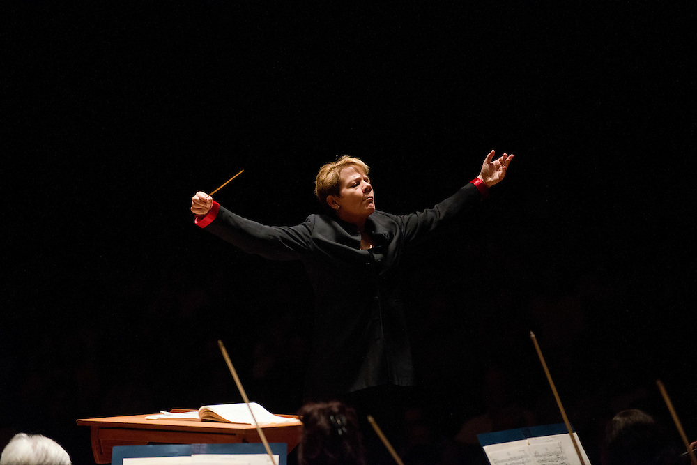 (photo by Matt Roth).Assignment ID: 30127886A..Baltimore Symphony Orchestra Music Director Marin Alsop conducts the final performance to close out the third annual BSO Academy at the Meyerhof Symphony Hall in Baltimore, MD Saturday June 30, 2012. ..